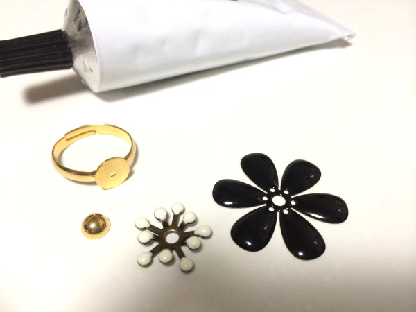 handmade ring black flower01